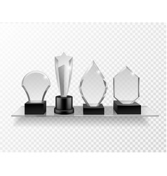 Glass award on shelf realistic different champion vector