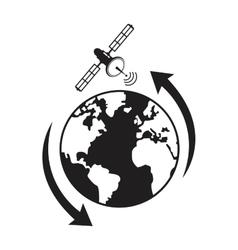 globe satellite transmission around vector image