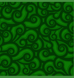 green abstract background with waves spirals and vector image