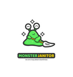 Green slime monster janitor cleaner logo icon vector