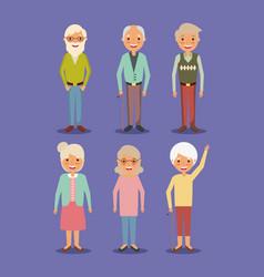 Group grandpa and grandma elderly people standing vector