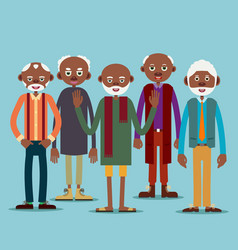 Group of elderly afro american men vector