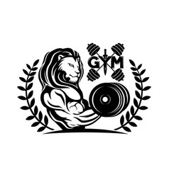 Gym icon with lion vector