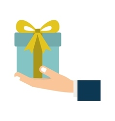hand holding a gift box vector image