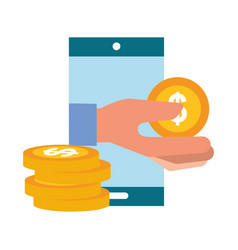 hand holding coin smartphone payment online vector image