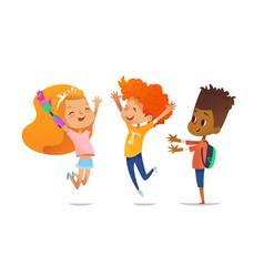 Happy children jump with raised hands girl vector