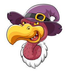 head vulture bird mascot with witch hat vector image