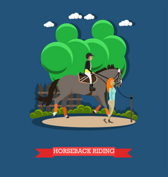 Horseback riding in flat style vector