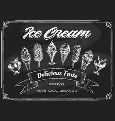 ice cream chalk board drawing vector image