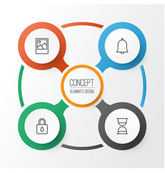 Internet icons set collection safeguard alert vector