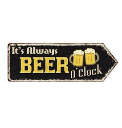 Its always beer oclock vintage rusty metal sign vector