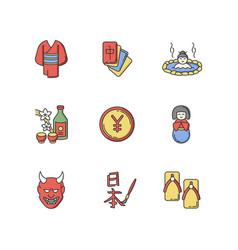 Japan rgb color icons set yukata kimono mahjong vector