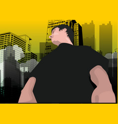man in the city vector image