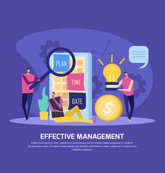 Management planning flat composition vector
