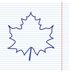 Maple leaf sign navy line icon on vector