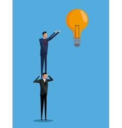 Men cooperation business bulb idea vector