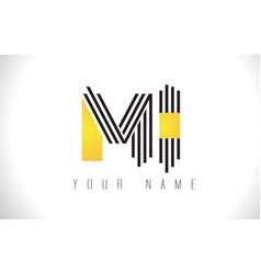 Mi black lines letter logo creative line letters vector