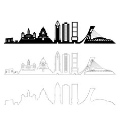 montreal skyline set black and white vector image
