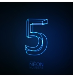 Neon 3D number 5 vector image