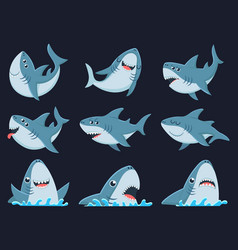 ocean shark mascot scary sharks animals smiling vector image