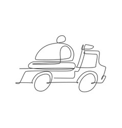 one continuous line drawing truck box car vector image