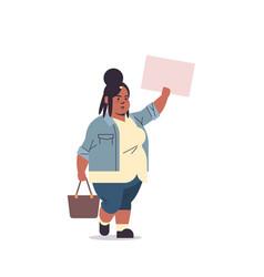 Overweight african american woman activist vector