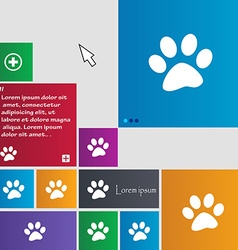 Paw icon sign buttons Modern interface website vector