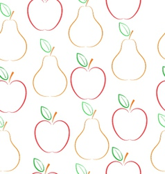 Pears and apples pattern vector image