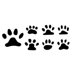 pets paw footprint cat paws prints kitten foots vector image