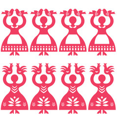 polish folk art seamless pattern wycinanki vector image