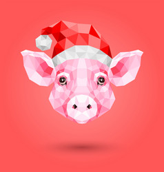 polygonal of pink pig in a new year hat vector image