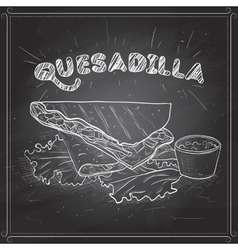 Quesadilla scetch on a black board vector image