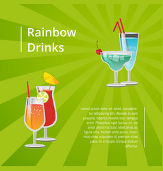 rainbow drinks summer cocktails poster refreshing vector image
