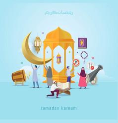 Ramadan kareem design concept with small people vector
