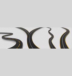 road winding and fork highway isolated icons set vector image