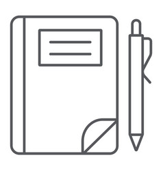school notebook thin line icon paper and vector image