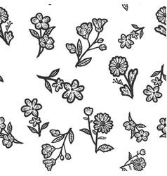 Seamless pattern wildflowers sketch scratch board vector
