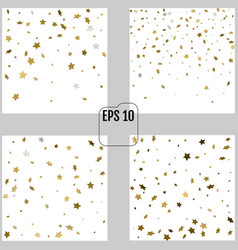Set of abstract patterns of random falling gold vector