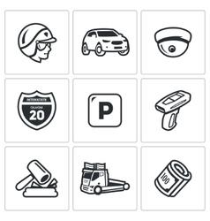 Set of road patrol police icons cop car vector