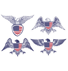 set of the emblems with eagles on usa flag vector image