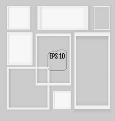 set of white realistic square empty picture vector image