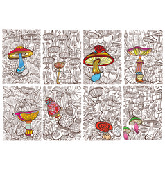 Set pictures with mushrooms antistress sketch vector