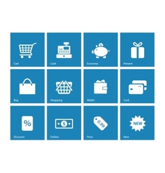 Shopping icons on blue background vector