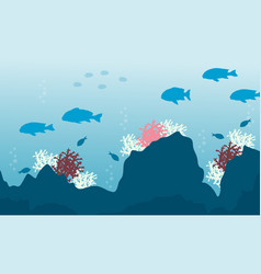 Silhouette of beaty ocean with fish and reef vector