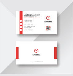 Simple and clean white business card with red vector