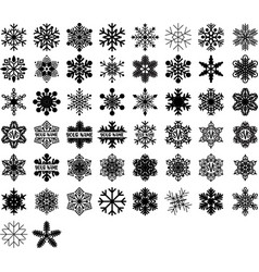 snowflakes and monograms set winter vector image