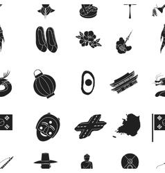 South Korea pattern icons in black style Big vector