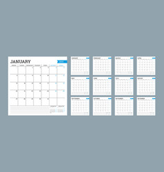 Square monthly calendar for 2020 year planner vector