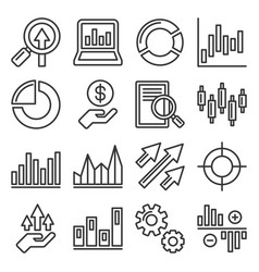 stock market trading icons set line style vector image
