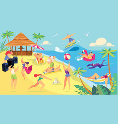 Summer vacation beach activities cartoon vector